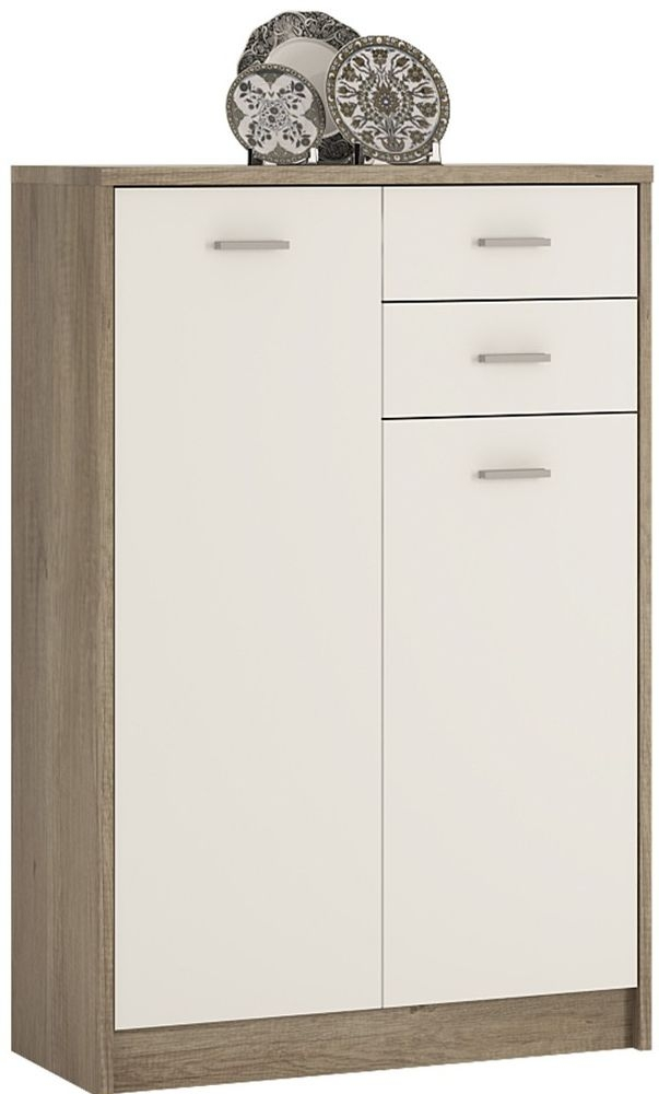 4 You Tall Cupboard - Canyon Grey and Pearl White
