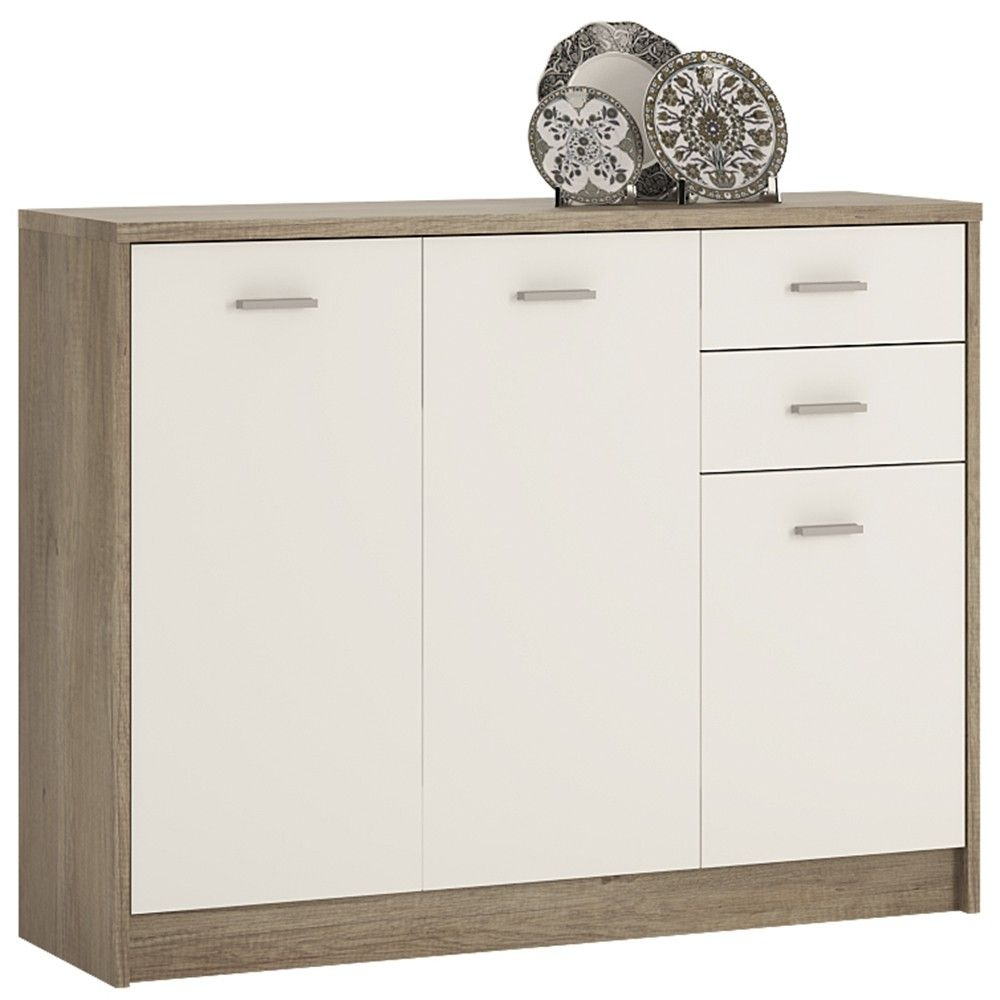4 You Canyon Grey and Pearl White Cupboard - Wide 3 Door 2 Drawer