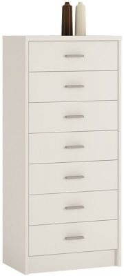 4 You Pearl White Chest of Drawers - 7 Narrow Drawer