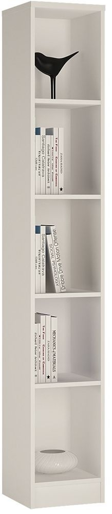 4 You Pearl White Tall Narrow Bookcase