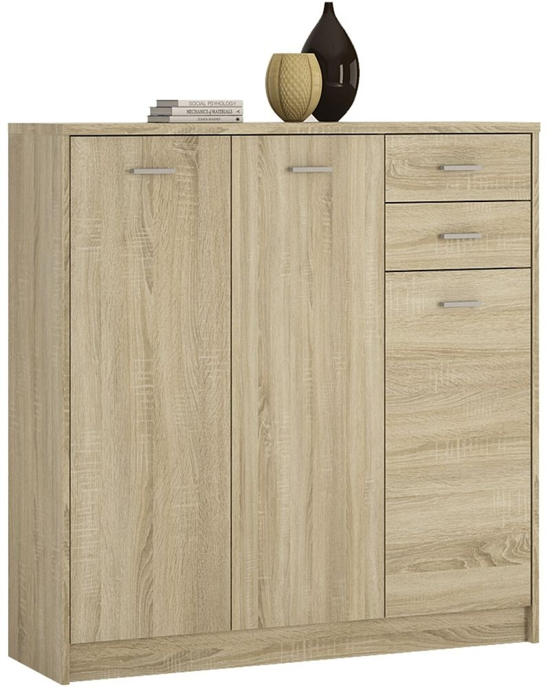 4 You Sonama Oak 3 Door Tall Combi Cupboard