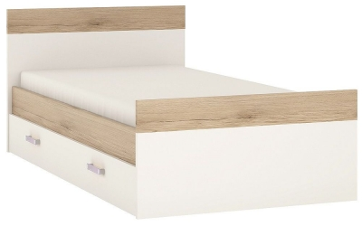 4Kids 3ft Storage Bed with Lilac Handles - Light Oak and White High Gloss