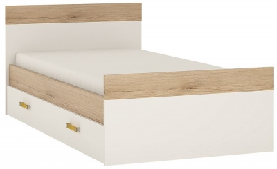 4Kids 3ft Storage Bed with Orange Handles - Light Oak and White High Gloss