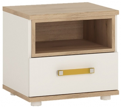 4Kids Bedside Cabinet with Orange Handles - Light Oak and White High Gloss