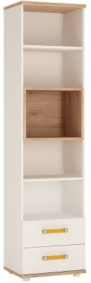4Kids Tall Bookcase with Orange Handles - Light Oak and White High Gloss