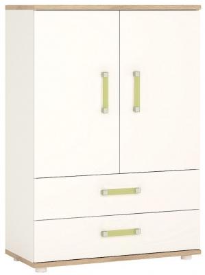 4Kids Cabinet with Lemon Handles - Light Oak and White High Gloss