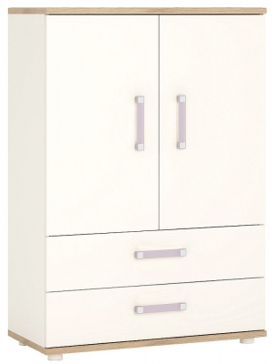 4Kids Cabinet with Lilac Handles - Light Oak and White High Gloss
