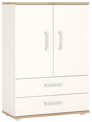 4Kids Cabinet with Opalino Handles - Light Oak and White High Gloss