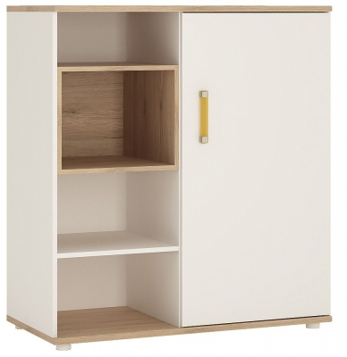 4Kids Low Cabinet with Orange Handles - Light Oak and White High Gloss