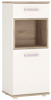 4Kids Narrow Cabinet with Lilac Handles - Light Oak and White High Gloss