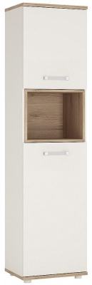 4Kids Tall Cabinet with Opalino Handles - Light Oak and White High Gloss