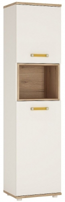 4Kids Tall Cabinet with Orange Handles - Light Oak and White High Gloss