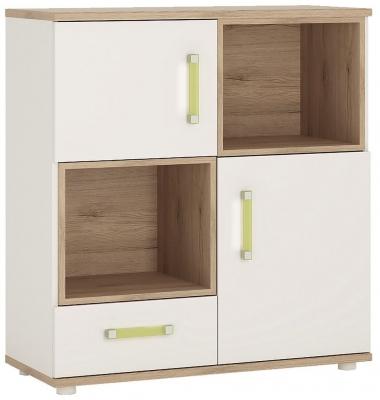 4Kids Wide Cupboard with Lemon Handles - Light Oak and White High Gloss