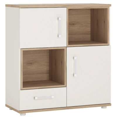 4Kids wide Cupboard with Opalino Handles - Light Oak and White High Gloss