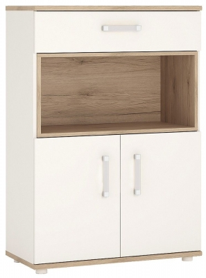 4Kids Tall Cupboard with Opalino Handles - Light Oak and White High Gloss
