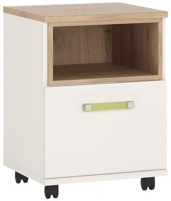 4Kids Mobile Desk with Lemon Handles - Light Oak and White High Gloss