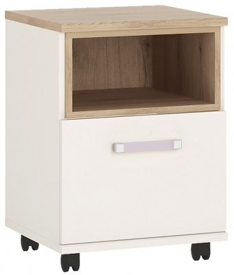 4Kids Mobile Desk with Lilac Handles - Light Oak and White High Gloss