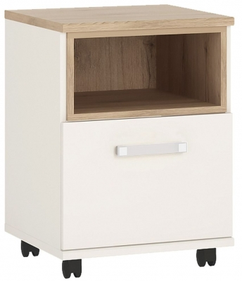 4Kids Mobile Desk with Opalino Handles - Light Oak and White High Gloss