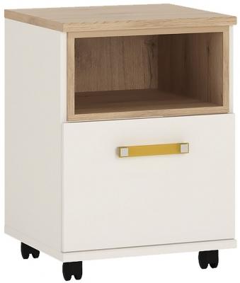 4Kids Mobile Desk with Orange Handles - Light Oak and White High Gloss