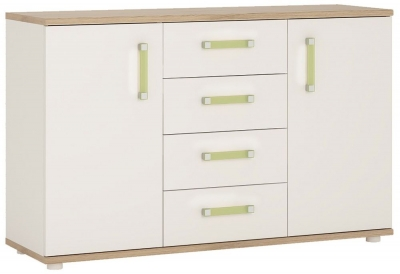 4Kids Sideboard with Lemon Handles - Light Oak and White High Gloss