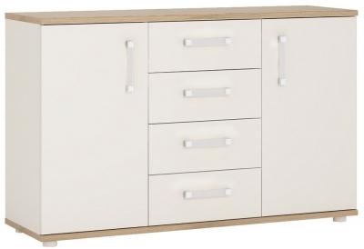 4Kids Sideboard with Opalino Handles - Light Oak and White High Gloss