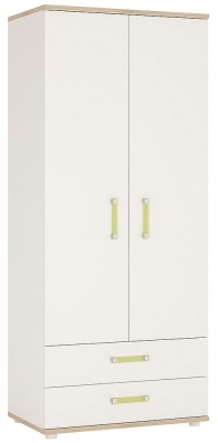 4Kids Wardrobe with Lemon Handles - Light Oak and White High Gloss