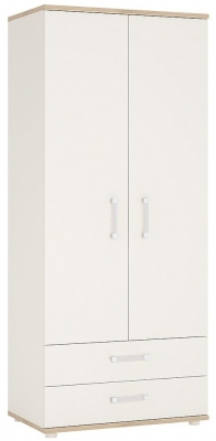 4Kids Wardrobe with Opalino Handles - Light Oak and White High Gloss