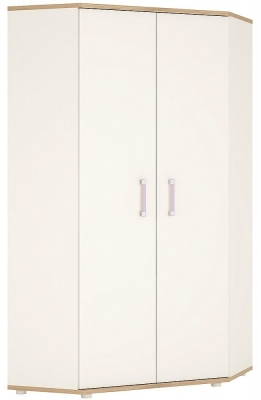 4Kids Corner Wardrobe with Lilac Handles - Light Oak and White High Gloss