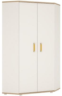 4Kids Corner Wardrobe with Orange Handles - Light Oak and White High Gloss