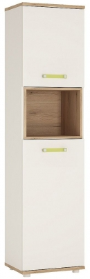 4Kids Tall Cabinet with Lemon Handles - Light Oak and White High Glossr
