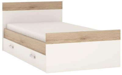 4Kids 3ft Storage Bed with Opalino Handles - Light Oak and White High Gloss
