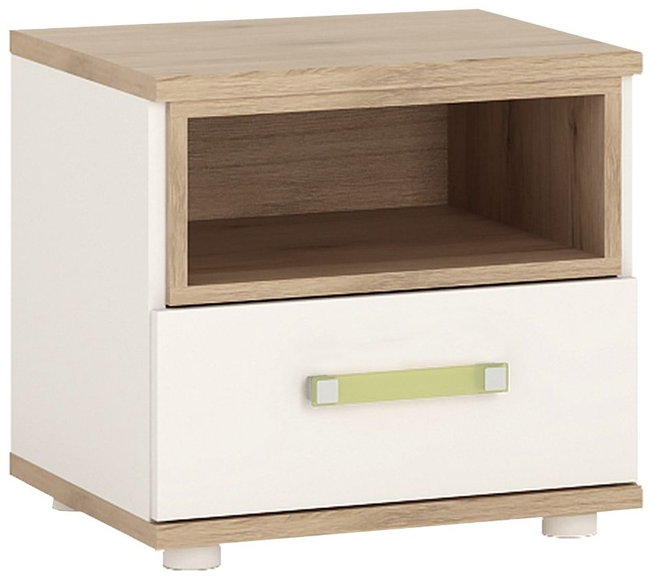 4Kids Bedside Cabinet with Lemon Handles - Light Oak and White High Gloss