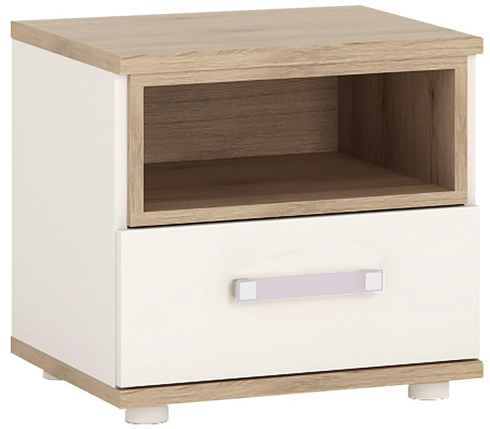4Kids Bedside Cabinet with Lilac Handles - Light Oak and White High Gloss