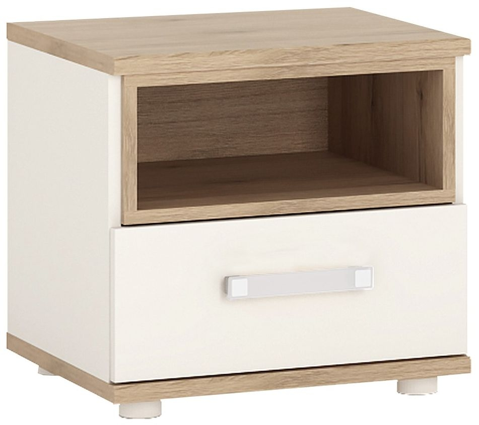 4Kids Bedside Cabinet with Opalino Handles - Light Oak and White High Gloss