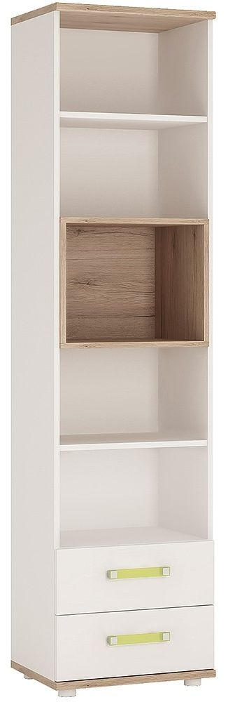 4Kids Tall Bookcase with Lemon Handles - Light Oak and White High Gloss