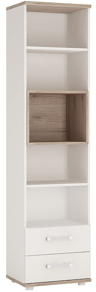 4Kids Light Oak and White Bookcase - Tall 2 Drawer with Opalino Handles