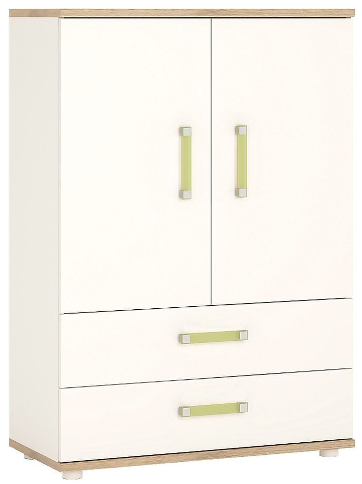 Image of 4Kids Cabinet with Lemon Handles - Light Oak and White High Gloss