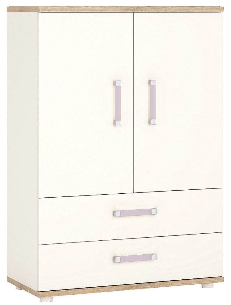 4Kids Light Oak and White Cabinet - 2 Door 2 Drawer with Lilac Handles