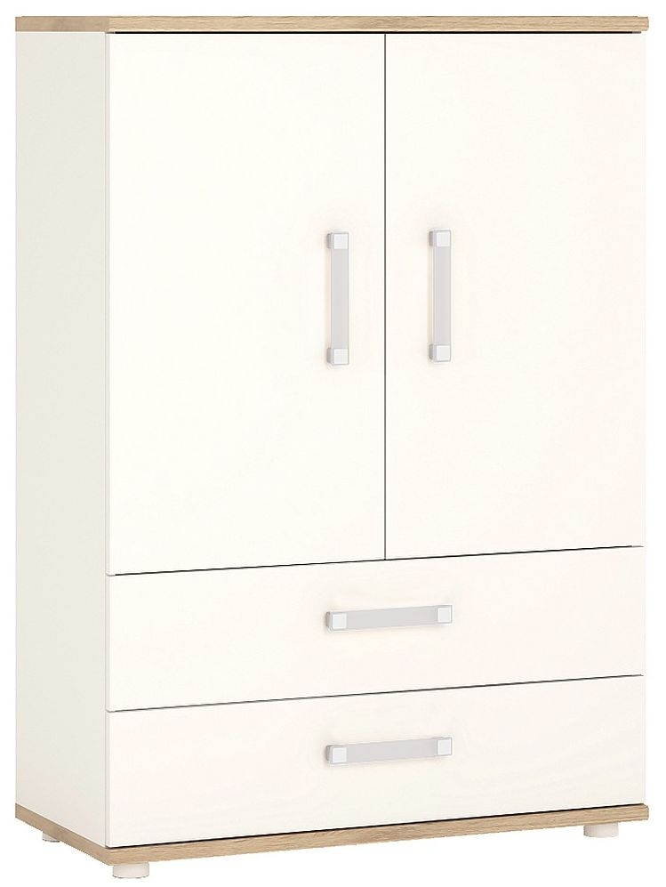 4Kids Light Oak and White Cabinet - 2 Door 2 Drawer with Opalino Handles