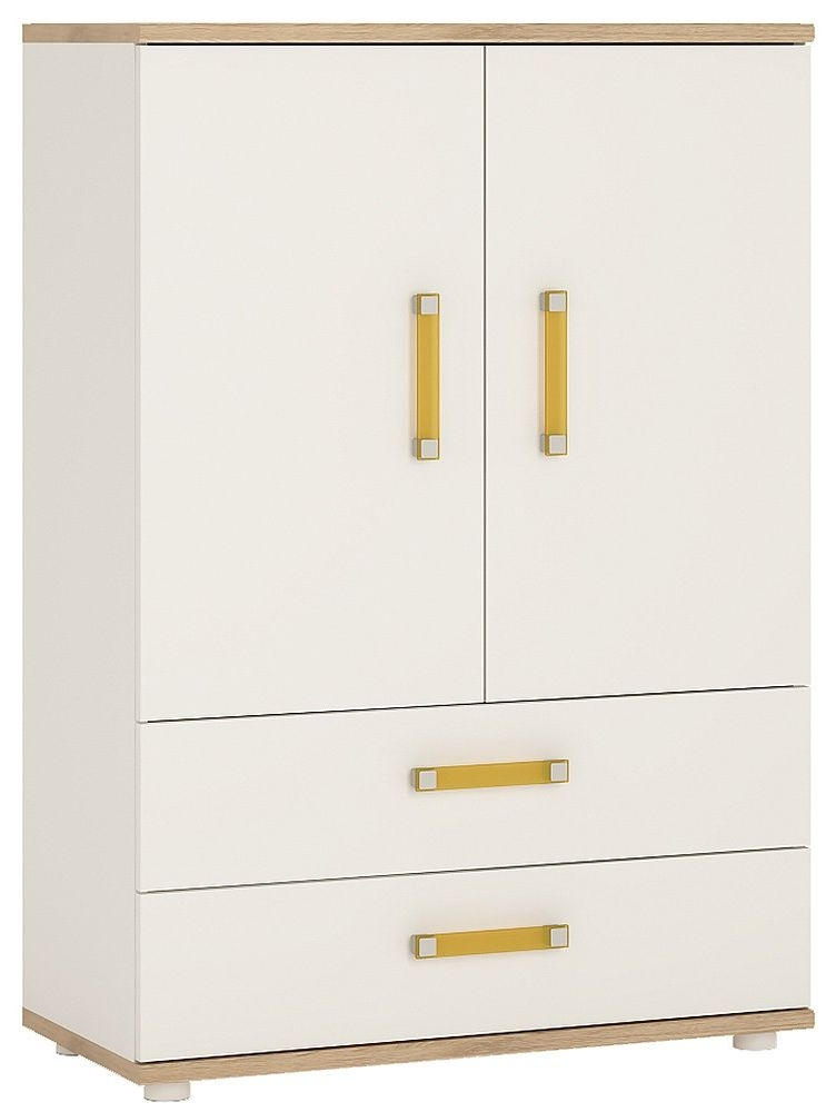 4Kids Light Oak and White Cabinet - 2 Door 2 Drawer with Orange Handles