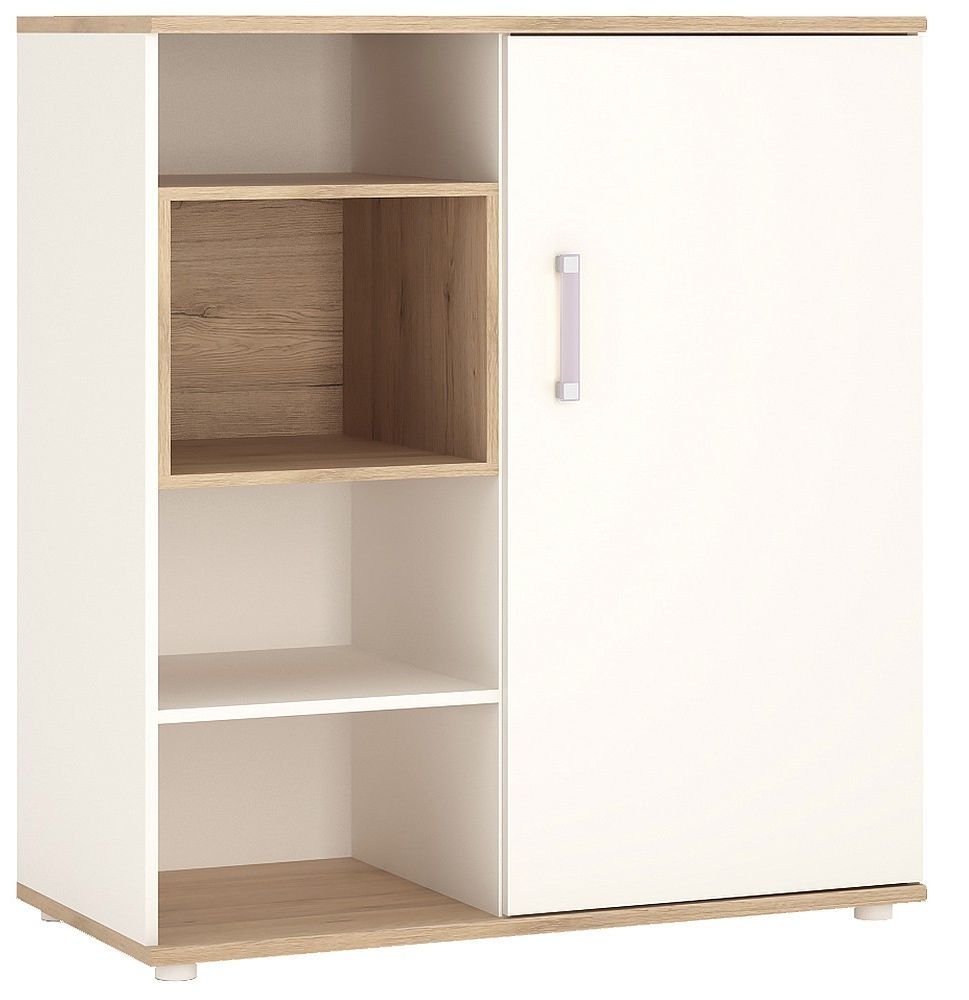 4Kids Light Oak and White Cabinet - Low with Shelves Sliding Door with Lilac Handles