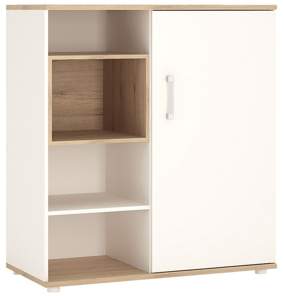 4Kids Light Oak and White Cabinet - Low with Shelves Sliding Door with Opalino Handles