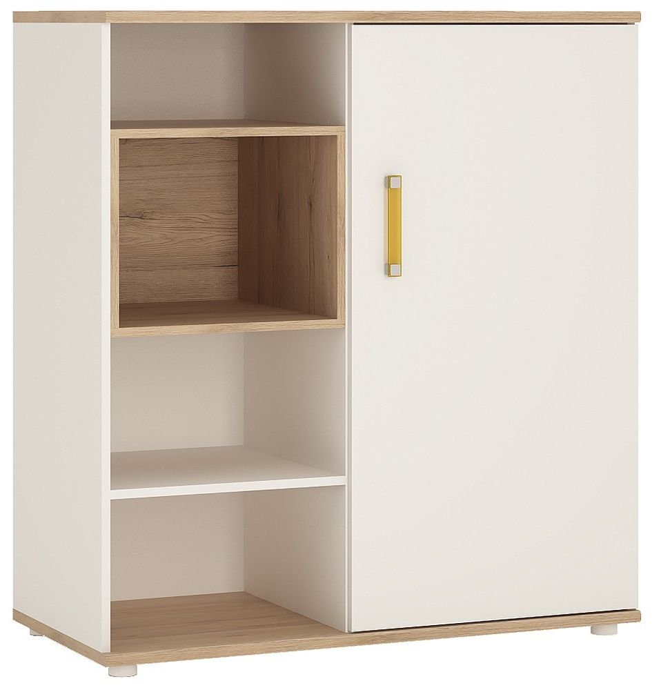 4Kids Light Oak and White Cabinet - Low with Shelves Sliding Door with Orange Handles