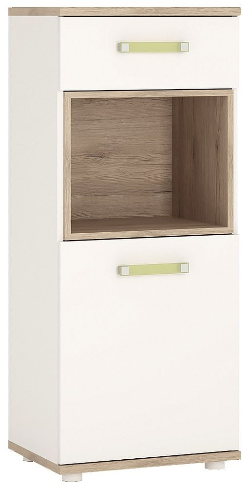 4Kids Narrow Cabinet with Lemon Handles - Light Oak and White High Gloss