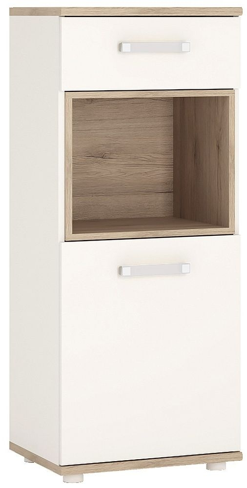 4Kids Light Oak and White Cabinet - Narrow 1 Door 1 Drawer with Opalino Handles