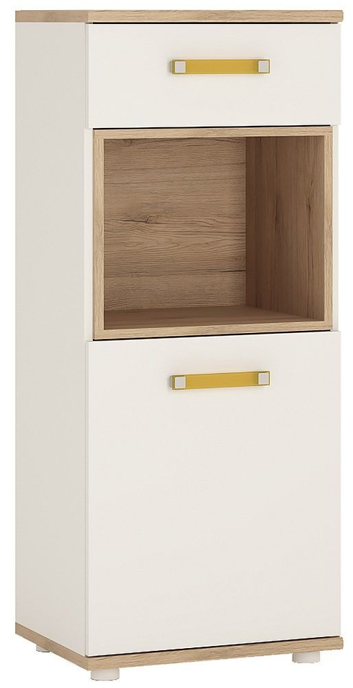 4Kids Light Oak and White Cabinet - Narrow 1 Door 1 Drawer with Orange Handles