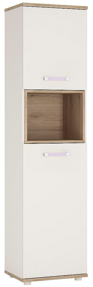 4Kids Light Oak and White Cabinet - Tall 2 Door with Lilac Handles