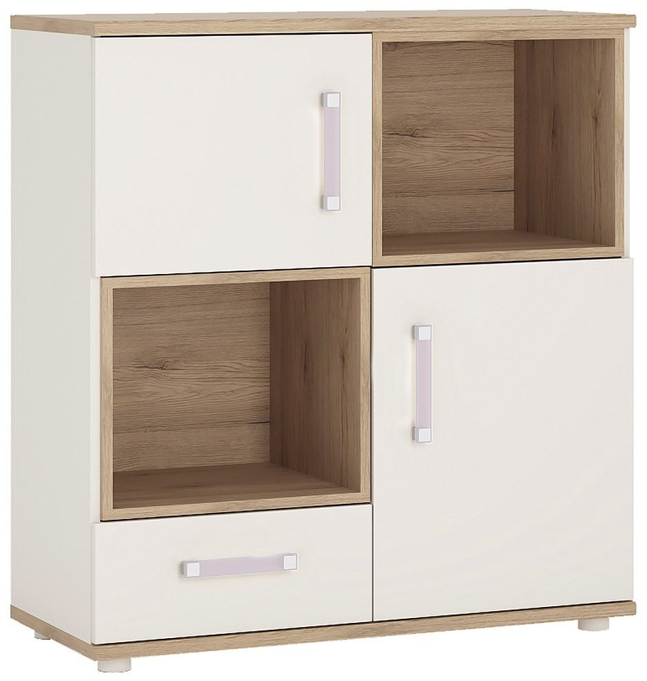 4Kids Light Oak and White Cupboard - 2 Door 1 Drawer with 2 Open Shelves with Lilac Handles