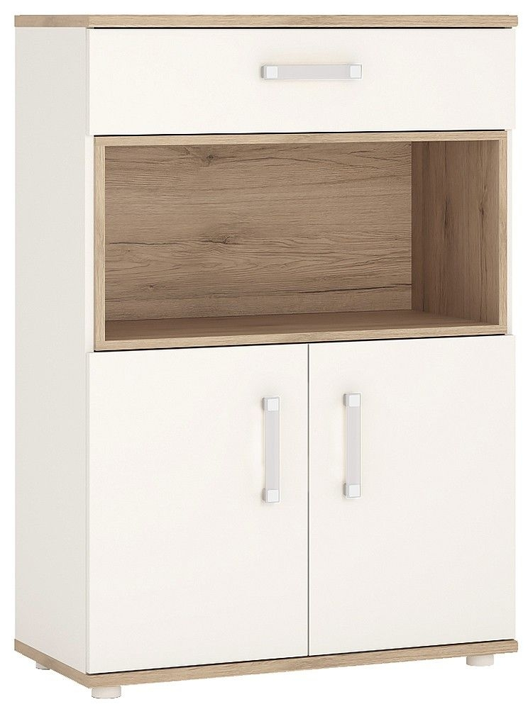 4Kids Tall Cupboard with Opalino Handles - Light Oak and White High Gloss