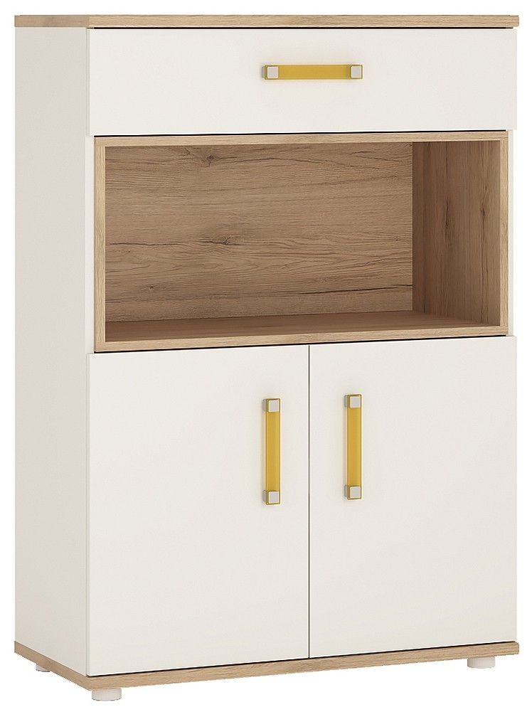 4Kids Tall Cupboard with Orange Handles - Light Oak and White High Gloss